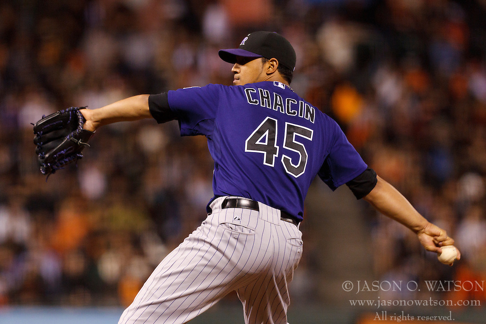 Sep 26, 2011; San Francisco, CA, USA;  Colorado Rockies starting pitcher Jhoulys Chacin (45) pitches against the San Francisco Giants during the first inning at AT&T Park.