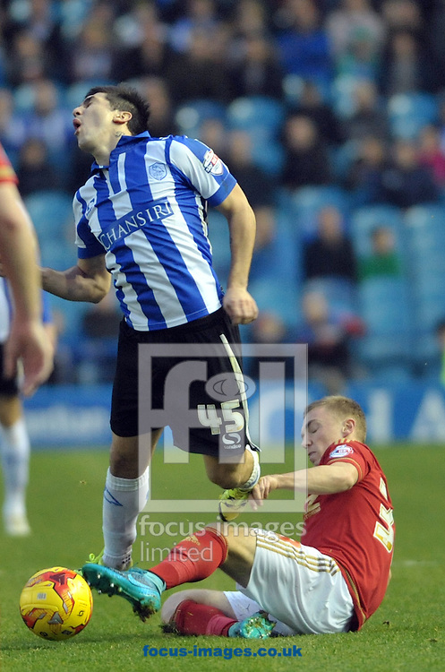 Fernando Forestieri of Sheffield Wednesday feels the challange from Ben Osborn of Nottingham Forest during the Sky Bet Championship match at Hillsborough, Sheffield<br /> Picture by Graham Crowther/Focus Images Ltd +44 7763 140036<br /> 31/10/2015