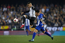 January 17, 2018 - Valencia, Valencia, Spain - ANDREAS PEREIRA (L) of Valencia CF controls the ball next to Hernan Perez of Deportivo Alaves during the Copa del Rey quarter-final first leg  game between Valencia CF and Deportivo Alaves at Mestalla stadium. Valencia wins 2-1. (Credit Image: © David Aliaga/NurPhoto via ZUMA Press)