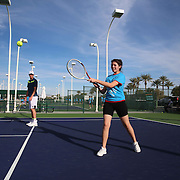 March 10, 2015, Indian Wells, California:<br /> Sam Query hosts a Fila junior tennis clinic at the Indian Wells Tennis Garden in Indian Wells, California Tuesday, March 10, 2015.<br /> (Photo by Billie Weiss/BNP Paribas Open)