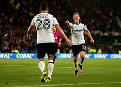 Matej Vydra of Derby County celebrates with David Nugent of Derby County after scoring a goal to make it 2-0 - Mandatory by-line: Robbie Stephenson/JMP - 08/09/2017 - FOOTBALL - Pride Park Stadium - Derby, England - Derby County v Hull City - Sky Bet Championship