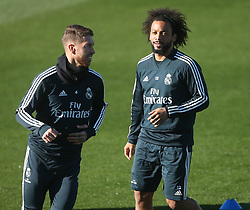 November 23, 2018 - Madrid, Spain - Marcelo (L) and Sergio Ramos during last training session before the match of Liga Spanish against Eibar in Madrid, Spain, on 23 November 2018. (Credit Image: © Raddad Jebarah/NurPhoto via ZUMA Press)