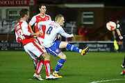 Walsall FC midfielder Sam Mantom strikes during the Sky Bet League 1 match between Fleetwood Town and Walsall at the Highbury Stadium, Fleetwood, England on 15 March 2016. Photo by Pete Burns.