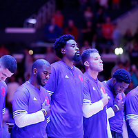 02 October 2015: Los Angeles Clippers guard Austin Rivers (25), Los Angeles Clippers guard Chris Paul (3), Los Angeles Clippers center DeAndre Jordan (6), Los Angeles Clippers forward Blake Griffin (32) are seen  during the national anthem prior to the Los Angeles Clippers 103-96 victory over the Denver Nuggets, in a preseason game, at the Staples Center, Los Angeles, California, USA.