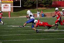 17 October 2009:  Casey Kociuba wraps up quarterback Ryan Roberts. The Indiana State Sycamores tumble to the Illinois State Redbirds 38-21 at Hancock Stadium on campus of Illinois State University in Normal Illinois