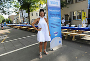 Actress Tia Mowry knows the power of blue as she joins the town of Lambertville, NJ at the Family Dinner with Dawn event, Sunday, Aug. 13, 2017.  While the community unplugged and reconnected along the 2,000 foot dinner table, Dawn tackled over 6,000 dishes with one 21.6 oz bottle of Dawn. (Photo by Diane Bondareff/Invision for Dawn/AP Images)