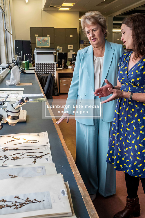 Pictured: Roseanna Cunningham is shown examples from  the RBG's collection by Science Policy and Impact Officewr Alexandra Davey<br />
