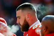 Kansas City Chiefs tight end Travis Kelce before the start of an NFL, AFC Championship football game against the Tennessee Titans, Sunday, Jan. 19, 2020, in Kansas City, MO. The Chiefs won 35-24 to advance to Super Bowl 54. Photo/Colin E. Braley Colin Eric Braley Photography