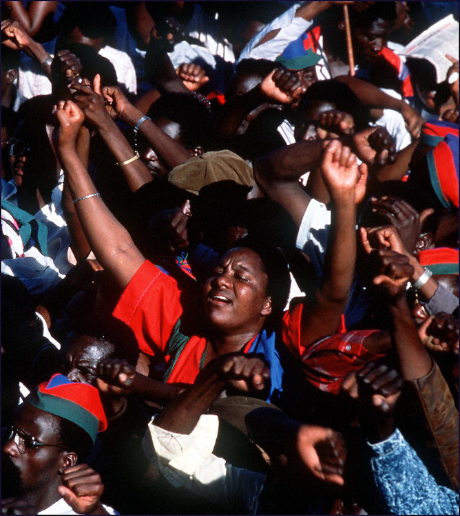 Namibians rally for independence outside Katatura.