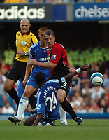 Photo: Tony Oudot.<br /> Chelsea v Blackburn Rovers. The FA Barclays Premiership. 15/09/2007.<br /> Stephen Warnock of Blackburn clears from Steve Sidwell and Shaun Wright Phillips of Chelsea
