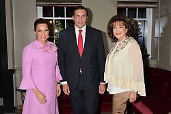 Left to right, SONIA FALCONE, PRINCE CHARLES PHILIPPE d'ORLEANS and BARIA ALAMUDDIN at a cocktail party hosted by Mrs Sonia Falcone and Mrs Kimberley Robson Chairman of Le Bal de la Riveria 2016 for the forthcoming Ball held at Flemings Hotel, Half Moon Street, London on 27th September 2016.