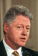 President Clinton during his first solo news conference in almost a year, in the East Room of the White House March 19, 1999 in Washington, DC. Clinton covered a wide variety of topics from Kosovo to his wife's rumored run for  the Senate.
