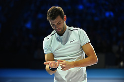 November 17, 2017 - London, England, United Kingdom - Grigor Dimitrov of Bulgaria gets ready to play his Singles match on day six of Nitto ATP World Tour Finals at the O2 Arena. (Credit Image: © Alberto Pezzali/NurPhoto via ZUMA Press)