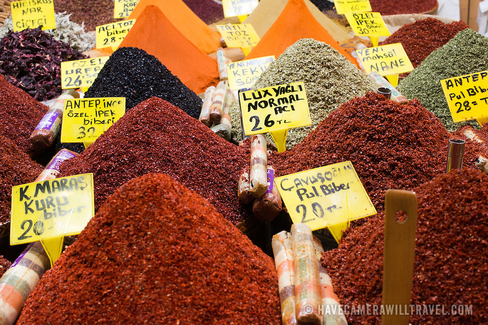 A store selling mounds of spices in Istanbul's Spice Bazaar. Located in the Eminonu quarter of Istanbul, next to the Galata Bridge, the Spice Bazaar is one of the city's largest and most famous markets. It is also known as the Egyptian Bazaar.