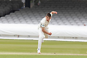 Ethan Bamber bowling during the Specsavers County Champ Div 2 match between Middlesex County Cricket Club and Leicestershire County Cricket Club at Lord's Cricket Ground, St John's Wood, United Kingdom on 17 May 2019.