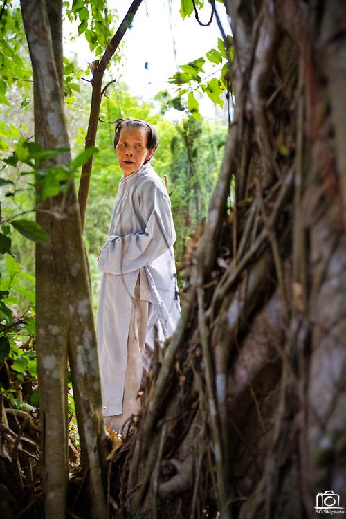 A woman prays in the brush, Chua Dieu Vien Pagoda, Hue, Vietnam.  Photo by Stan Olszewski/SOSKIphoto
