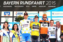 Radsport: 36. Bayern Rundfahrt 2015 / 3. Etappe, Selb - Ebern, 15.05.2015<br /> Cycling: 36th Tour of Bavaria 2015 / Stage 3, <br /> Selb - Ebern, 15.05.2015<br /> Siegerehrung - podium, <br /> # 131 Antonini, Simone (ITA, WANTY – GROUPE GOBERT), , Weisses Trikot mit gelben Punkten, bester Bergfahrer / Mountain Jersey, # 113 Bennett, Sam (IRL, Team BORA-ARGON 18), , Gelbes Trikot Gesamtfuehrender / Yellow Leader Jersey, # 162 Asselman, Jesper (NED, ROOMPOT), # 62 Koch, Jonas (GER, RAD-NET ROSE TEAM), , Weisses Trikot, bester Nachwuchsfahrer / White Junior Jersey