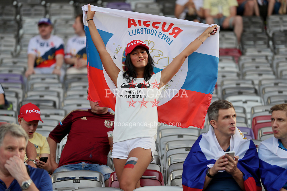 TOULOUSE, FRANCE - Monday, June 20, 2016: A female Russia supporter with flag before the final Group B UEFA Euro 2016 Championship match against Wales at Stadium de Toulouse. (Pic by David Rawcliffe/Propaganda)
