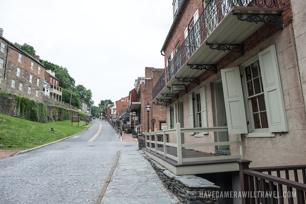 Looking up High Street in Harpers Ferry, West Virginia.