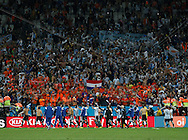 The players of Argentina celebrate with fans during the 2014 FIFA World Cup match at Arena Corinthians, Sao Paulo<br /> Picture by Andrew Tobin/Focus Images Ltd +44 7710 761829<br /> 09/07/2014
