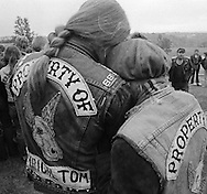"Funeral service for Robert (Moose) Holston, 27, Kentucky chapter president of the Iron Horseman motorcycle club.  He was buried by his club members at a ""cycle funeral"" at St. Stephens Cemetery in Ft. Thomas, KY.  Holston was stabbed to death during a fight at the headquarters of the Seventh Sons motorcycle club in Newport, KY.  About 500 cyclists from Kentucky, Ohio and Indiana attended the funeral."