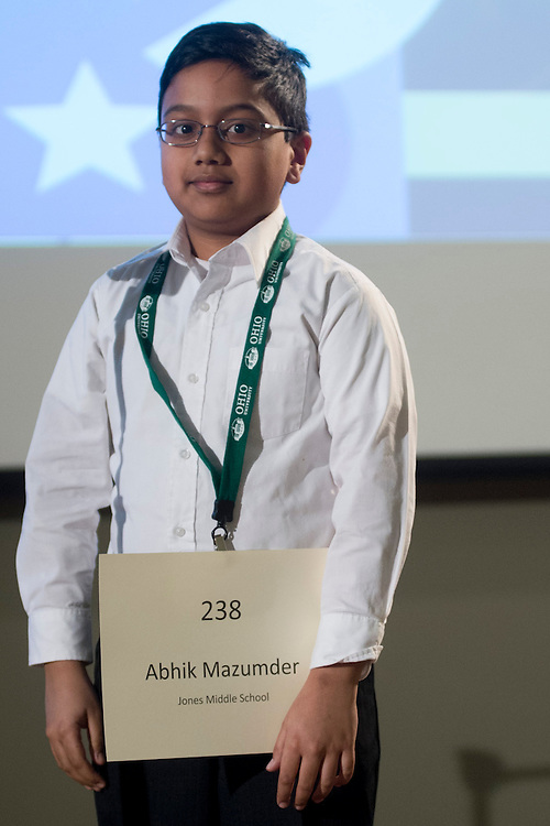 Abhik Mazumder of Jones Middle School introduces himself during the Columbus Metro Regional Spelling Bee Regional Saturday, March 16, 2013. The Regional Spelling Bee was sponsored by Ohio University's Scripps College of Communication and held in Margaret M. Walter Hall on OU's main campus.