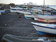 Italy, Sicily, Fishing boats on the coast near Taormina