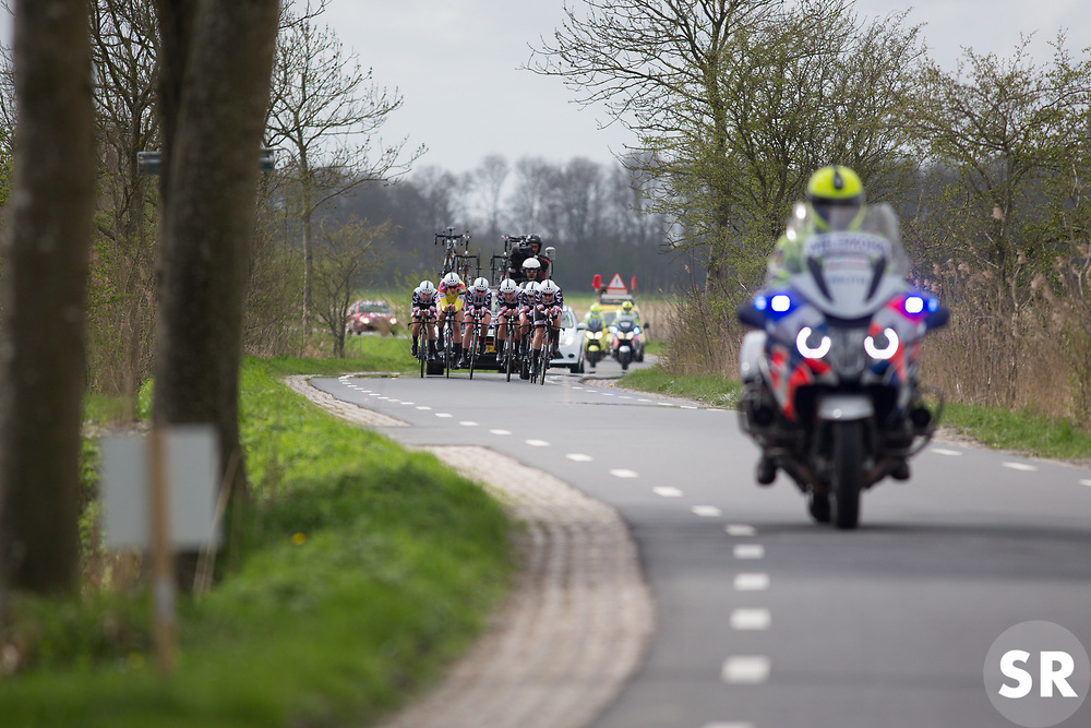 Team Sunweb riders approach a sharp corner during Stage 2 of the Healthy Ageing Tour - a 19.6 km team time trial, starting and finishing in Baflo on April 6, 2017, in Groeningen, Netherlands.
