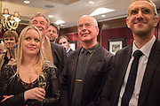 Andrzej Klimowski , David Campbell Publisher of Everyman's Library and Champagen Bollinger celebrate the completion of the Everyman Wodehouse in 99 volumes and the 2015 Bollinger Everyman Wodehouse prize shortlist. The Archive Room, The Goring Hotel. London. 20 April 2015.