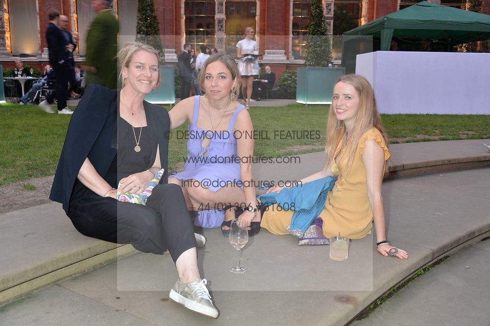 Left to right, LAURA LOPES, her cousin AYESHA SHAND and IBBY DALRYMPLE at the V&A Summer Party in association with Harrod's held at The V&A Museum, London on 22nd June 2016.