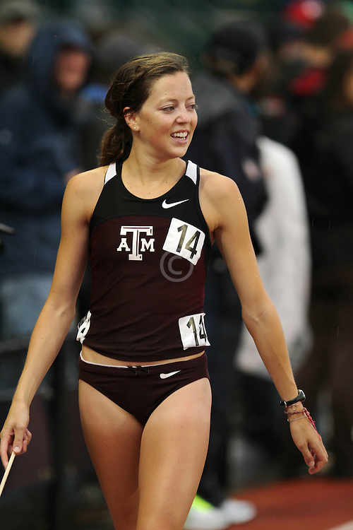 Natosha Rogers on victory lap after 2nd place finish in 10.000 meters to make USA Olympic team