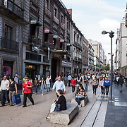 A busy pedestrian street, Avenue Francisco I Madero, in Centro Historico, Mexico City, Mexico.