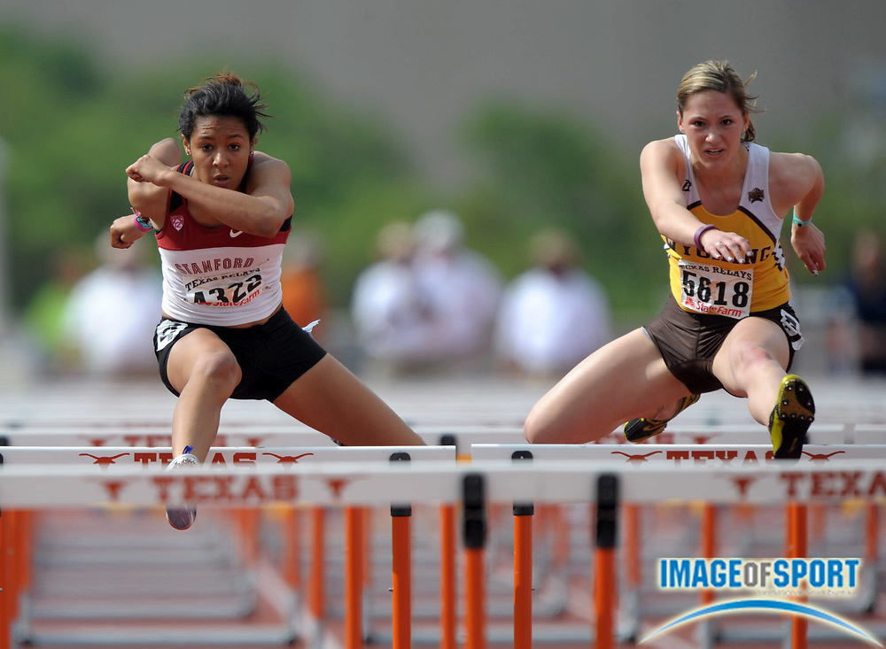 Mar 30, 2012; Austin, TX, USA; Jenna Mann of Wyoming (right) and Amber Farrell of Wyoming place first and second in a womens 100m hurdle heat in 14.40 and 14.47 in the 85th Clyde Littlefield Texas Relays at Mike A. Myers Stadium.