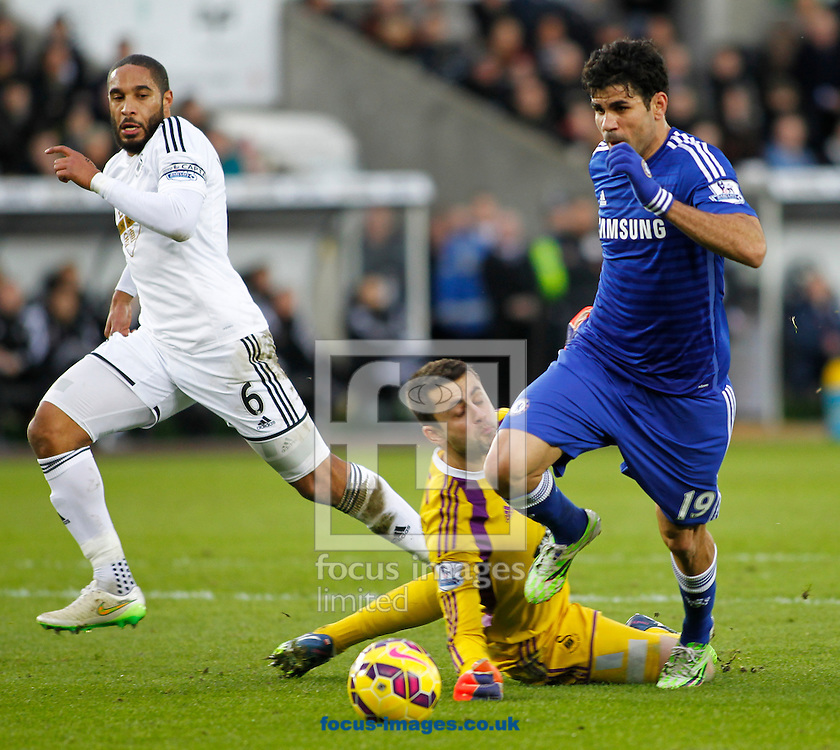 Lukasz Fabianski of Swansea City and Diego Costa of Chelsea during the Barclays Premier League match at the Liberty Stadium, Swansea<br /> Picture by Mike Griffiths/Focus Images Ltd +44 7766 223933<br /> 17/01/2015