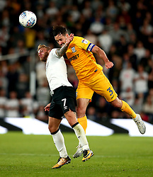 Greg Cunningham of Preston North End beats Johnny Russell of Derby County to a header - Mandatory by-line: Robbie Stephenson/JMP - 15/08/2017 - FOOTBALL - Pride Park Stadium - Derby, England - Derby County v Preston North End - Sky Bet Championship
