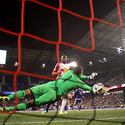 HARRISON, NEW JERSEY- APRIL 24: Bradley Wright-Phillips #99 of New York Red Bulls beats goalkeeper Joseph Bendik #1 of Orlando City FC for the winning goal during the New York Red Bulls 3-2 victory in the New York Red Bulls Vs Orlando City MLS regular season match at Red Bull Arena, Harrison, New Jersey on April 24, 2016 in New York City. (Photo by Tim Clayton/Corbis via Getty Images)