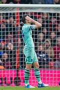 Granit Xhaka (Capt) (Arsenal) frustration at missing goal with his shot during the Premier League match between Bournemouth and Arsenal at the Vitality Stadium, Bournemouth, England on 25 November 2018.