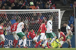 November 12, 2017 - Basel, Schweiz - Basel, 12.11.2017, Fussball WM Qualifikation Playoff, Schweiz - Nordirland, Ricardo Rodriguez (SUI) rettet auf der Linie  (Credit Image: © Pascal Muller/EQ Images via ZUMA Press)