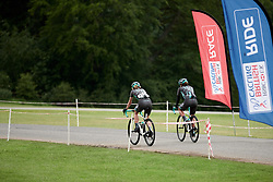 Stretching the legs after Stage 3 of 2019 OVO Women's Tour, a 145.1 km road race from Henley-on-Thames to Blenheim Palace, United Kingdom on June 12, 2019. Photo by Sean Robinson/velofocus.com