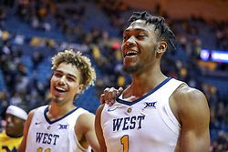 Dec 22, 2018; Morgantown, WV, USA; West Virginia Mountaineers forward Derek Culver (1) smiles after beating the Jacksonville State Gamecocks at WVU Coliseum. Mandatory Credit: Ben Queen-USA TODAY Sports