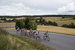 Carmen Small (USA) of Cylance Pro Cycling (R) leads the front group on the second KOM climb of the 97,1 km second stage of the 2016 Ladies' Tour of Norway women's road cycling race on August 13, 2016 between Mysen and Sarpsborg, Norway. (Photo by Balint Hamvas/Velofocus)
