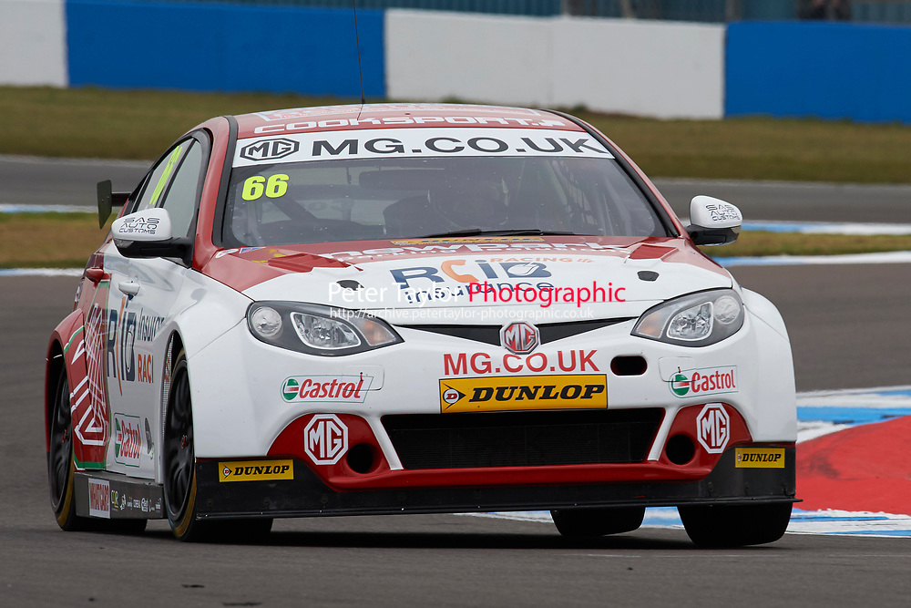 #66 Josh Cook GBR MG Racing RCIB Insurance MG6GT during Media Day Test Session as part of the BTCC Media Day at Donington Park, Melbourne, Leicestershire, United Kingdom. March 22 2016. World Copyright Peter Taylor/PSP. Copy of publication required for printed pictures.  Every used picture is fee-liable.