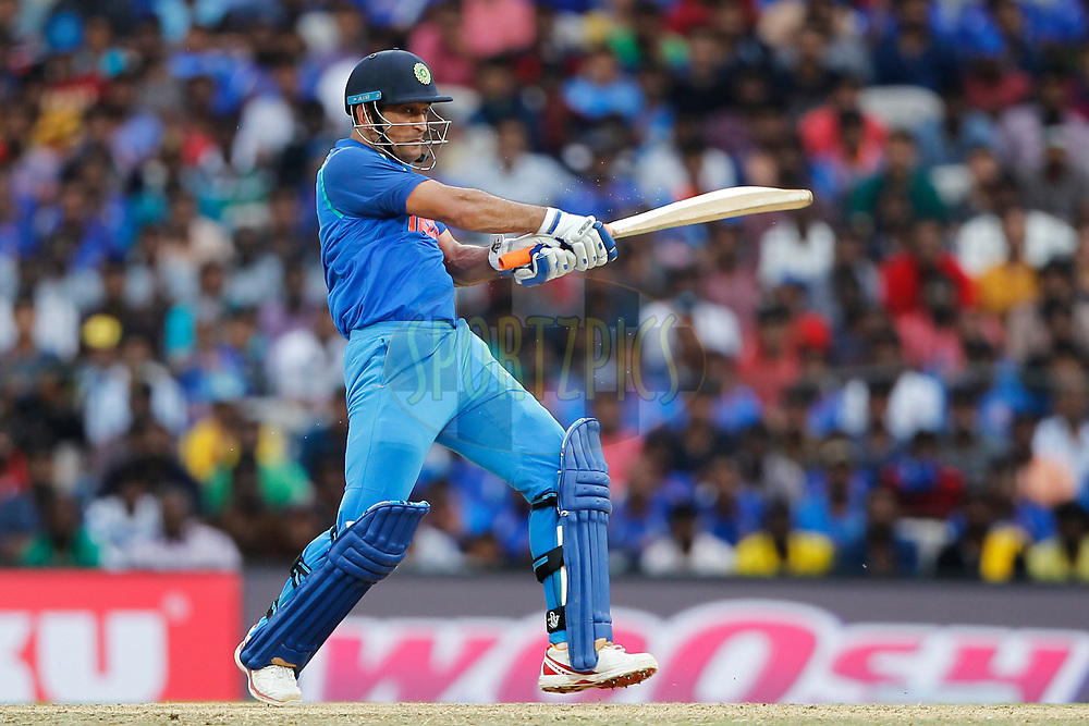 Mahendra Singh Dhoni of India bats during the 1st One Day International between India and Australia held at the M. A. Chidambaram Stadium in Chennai on the 17th September 2017<br /> <br /> Photo by Deepak Malik / BCCI / SPORTZPICS