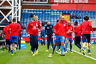 Picture by David Horn/Focus Images Ltd +44 7545 970036<br /> 09/11/2013<br /> Crystal Palace warm up, led by Marouane Chamakh and Jimmy Kebe of Crystal Palace before the Barclays Premier League match at Selhurst Park, London.