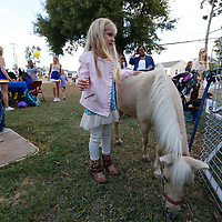 Thomas Wells   Buy at PHOTOS.DJOURNAL.COM<br /> Ella Kate West, 5, doesn't look to sure about getting to pet a horse at Friday's the Joyner Fall festival in Tupelo.