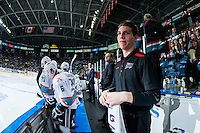 KELOWNA, CANADA - JANUARY 9: Chaydn Johnson, equipment manager, stands on the bench on January 9, 2016 at Prospera Place in Kelowna, British Columbia, Canada.  (Photo by Marissa Baecker/Shoot the Breeze)  *** Local Caption *** Chaydn Johnson;