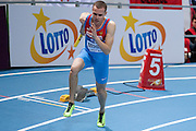 Lev Mosin of Russia competes in men's relay 4x400 meters qualification during the IAAF Athletics World Indoor Championships 2014 at Ergo Arena Hall in Sopot, Poland.<br /> <br /> Poland, Sopot, March 8, 2014.<br /> <br /> Picture also available in RAW (NEF) or TIFF format on special request.<br /> <br /> For editorial use only. Any commercial or promotional use requires permission.<br /> <br /> Mandatory credit:<br /> Photo by &copy; Adam Nurkiewicz / Mediasport