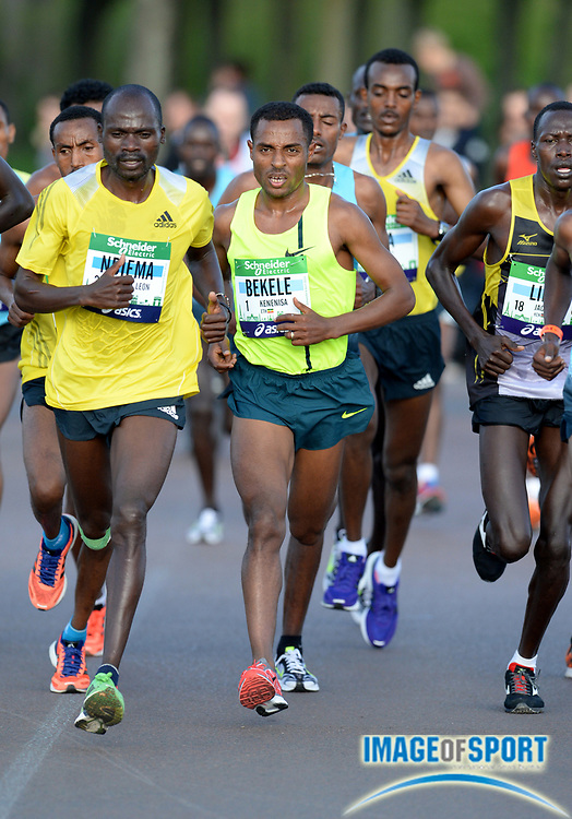 Apr 6, 2014; Paris, France; Kenenisa Bekele (ETH) wins the Schneider Electric Marathon de Paris in a course record 2:05.03 in his marathon debut. Photo by Jiro Mochizuki