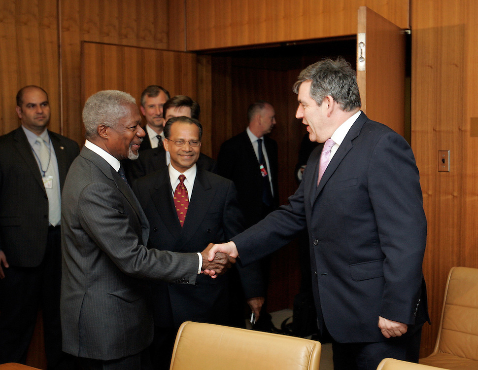U.N. Secretary-General Kofi Annan, and United Kingdom Chancellor Gordon Brown shake hands before a meeting at United Nations Headquarters in New York, Thursday 20 April 2006.