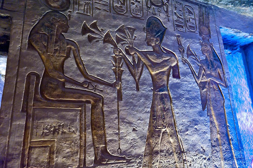 Hieroglyphics, The Temple of Hathor and Nefertari, Abu Simbel (archaeological site) on Lake Nasser, Egypt